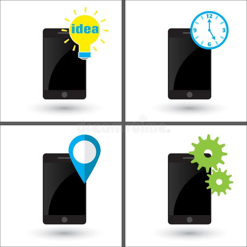 Smartphone - ljus kula för idé Telefon - lägestift, navigeringmarkör Mobiltelefon - kugghjul och kuggar Telefon - klocka stock illustrationer