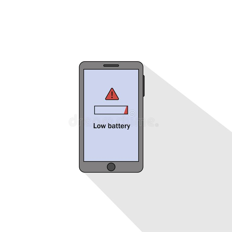 Smartphone low battery flat style. vector illustration stock illustration