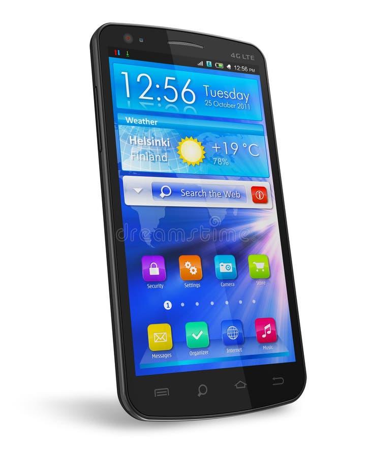 Smartphone lucido nero dello schermo attivabile al tatto illustrazione di stock
