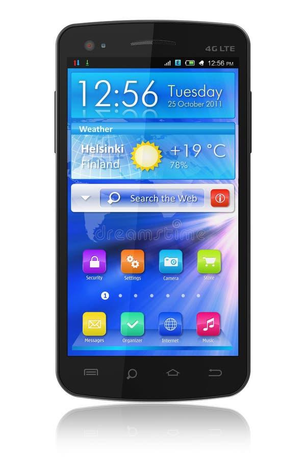 Smartphone lucido nero dello schermo attivabile al tatto royalty illustrazione gratis