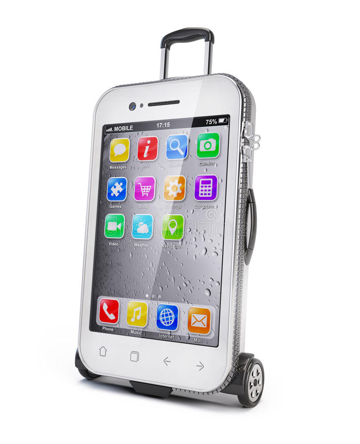 Smartphone - luggage suitcase. Concept - 3d render royalty free illustration