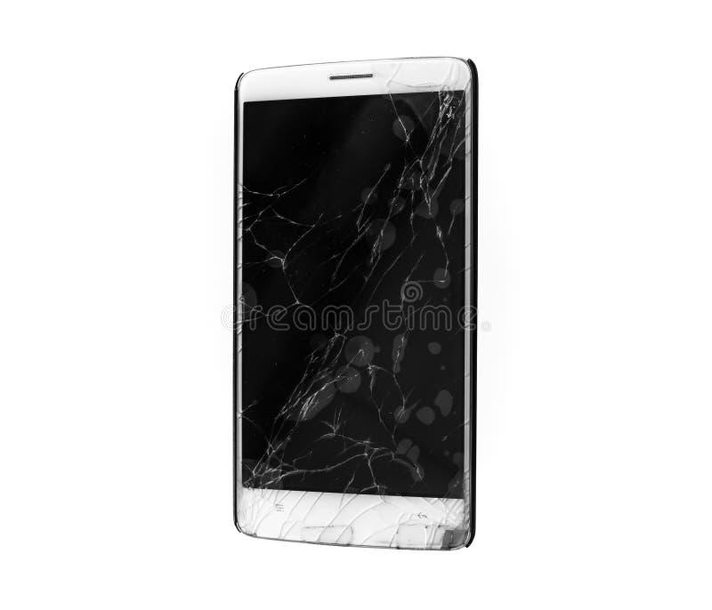 Smartphone móvil moderno con la pantalla quebrada aislada stock de ilustración