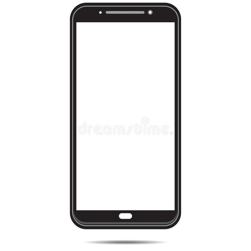 Smartphone-malplaatje zwart die wit in wit achtergrond-03 wordt geïsoleerd stock illustratie