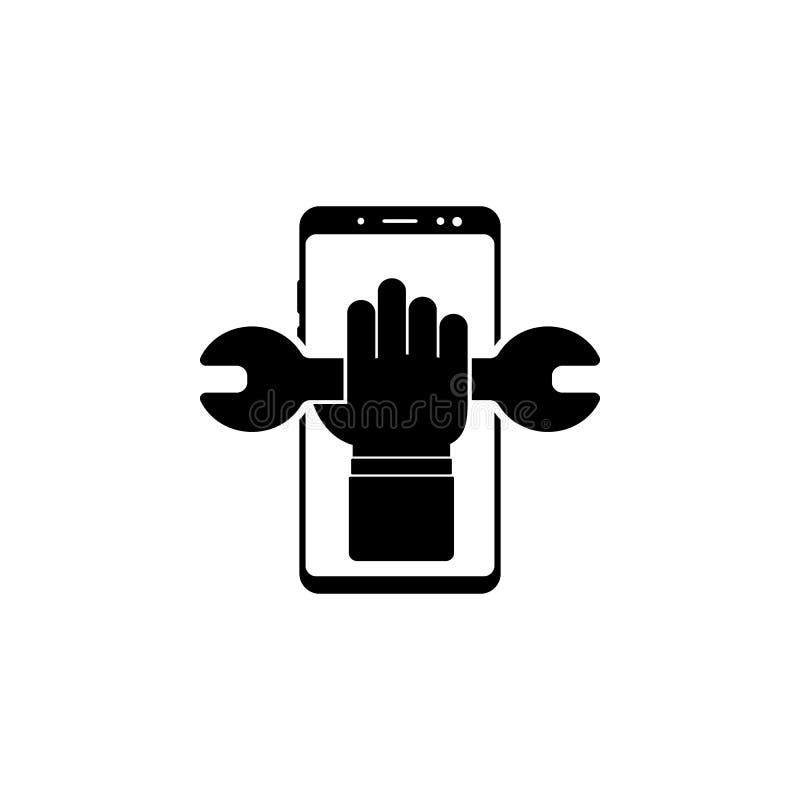 smartphone, mano, icona di vettore della chiave per i siti Web e progettazione piana minimalistic mobile illustrazione di stock