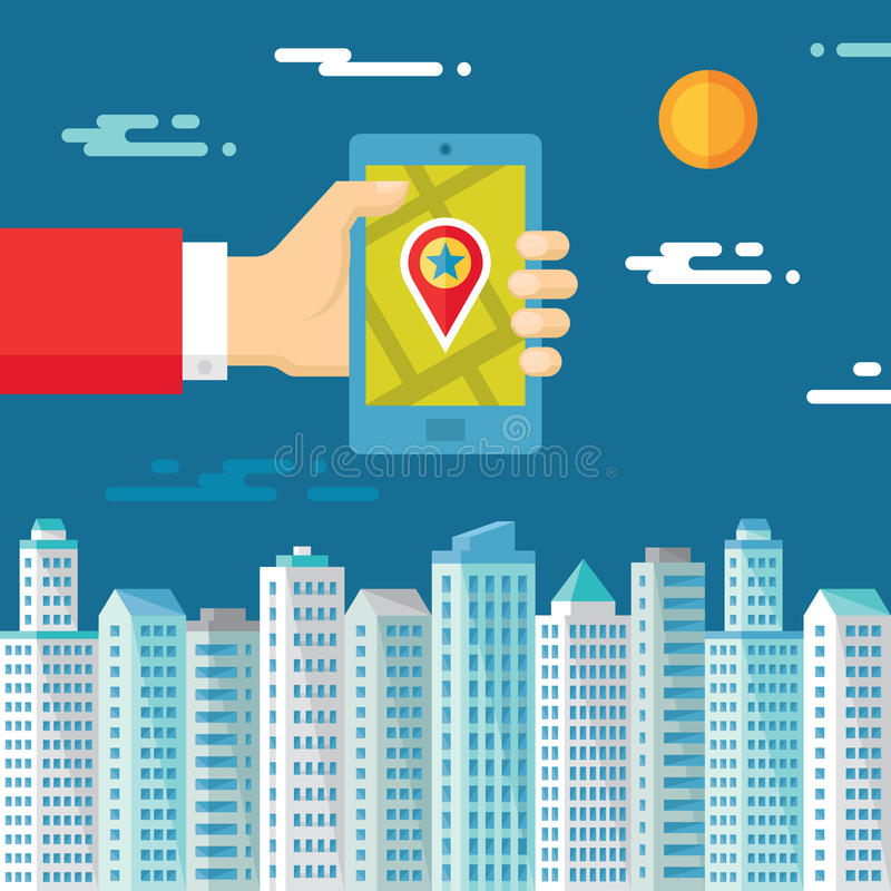 Smartphone with map & location in human hand on the background of the city for presentation and different design works. Location vector concept in flat design royalty free illustration