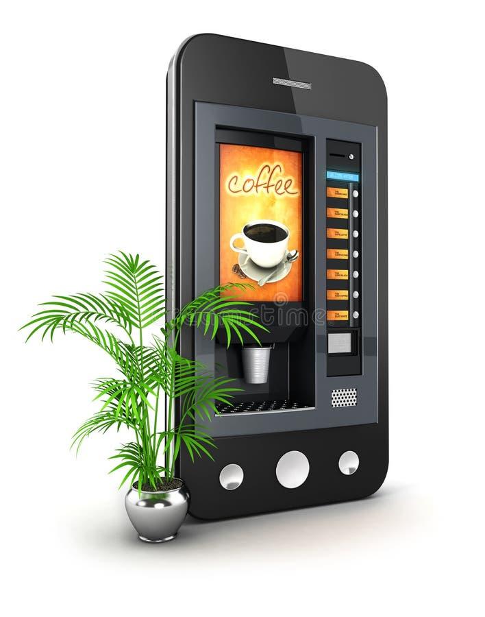 Smartphone Maschine des Kaffees 3d lizenzfreie abbildung