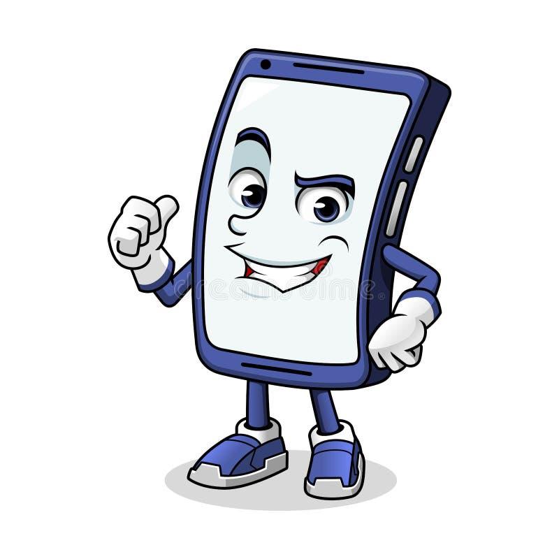 Smartphone maskotki Dawać aprobaty ilustracja wektor