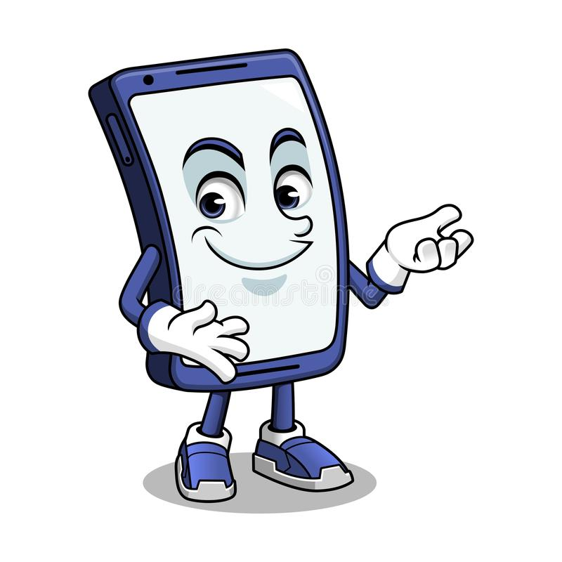 Smartphone-Maskottchen-Darstellen vektor abbildung