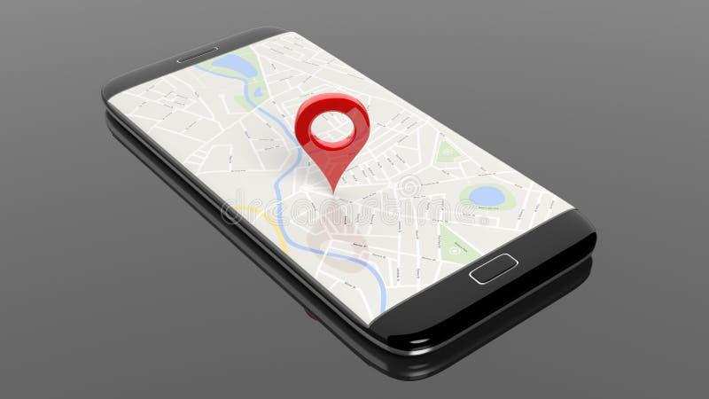 Smartphone med översikten och den röda knappnålsspetsen på skärmen stock illustrationer