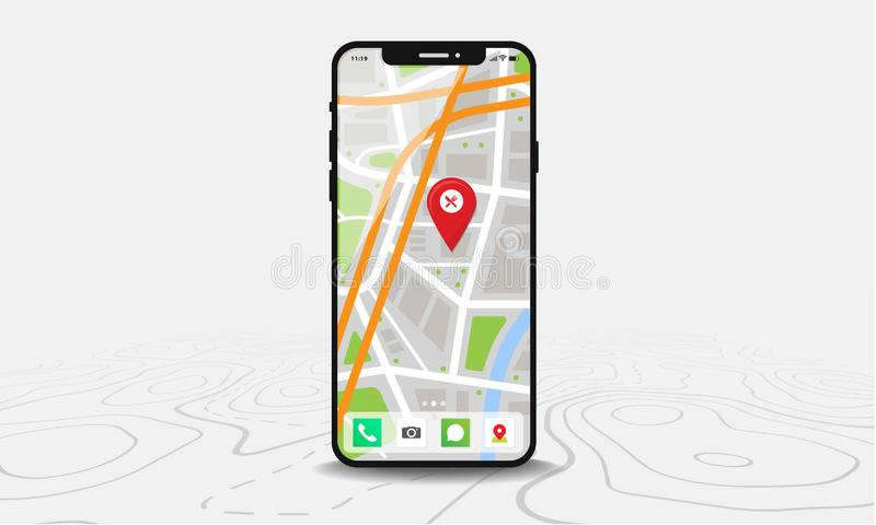 Smartphone med översikten och den röda knappnålsspetsen på skärmen som isoleras på linjen översiktsbakgrund stock illustrationer