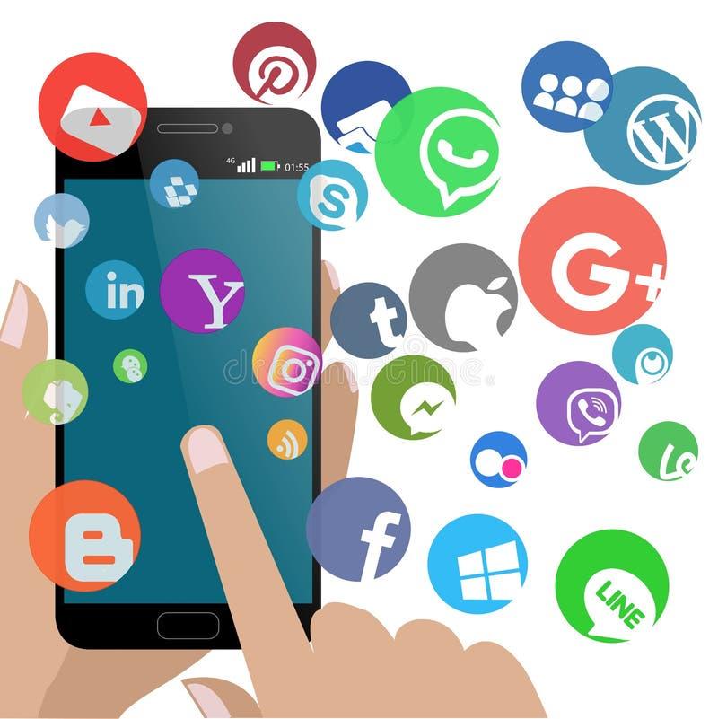 Smartphone med allt socialt nätverk som isoleras med vektor illustrationer