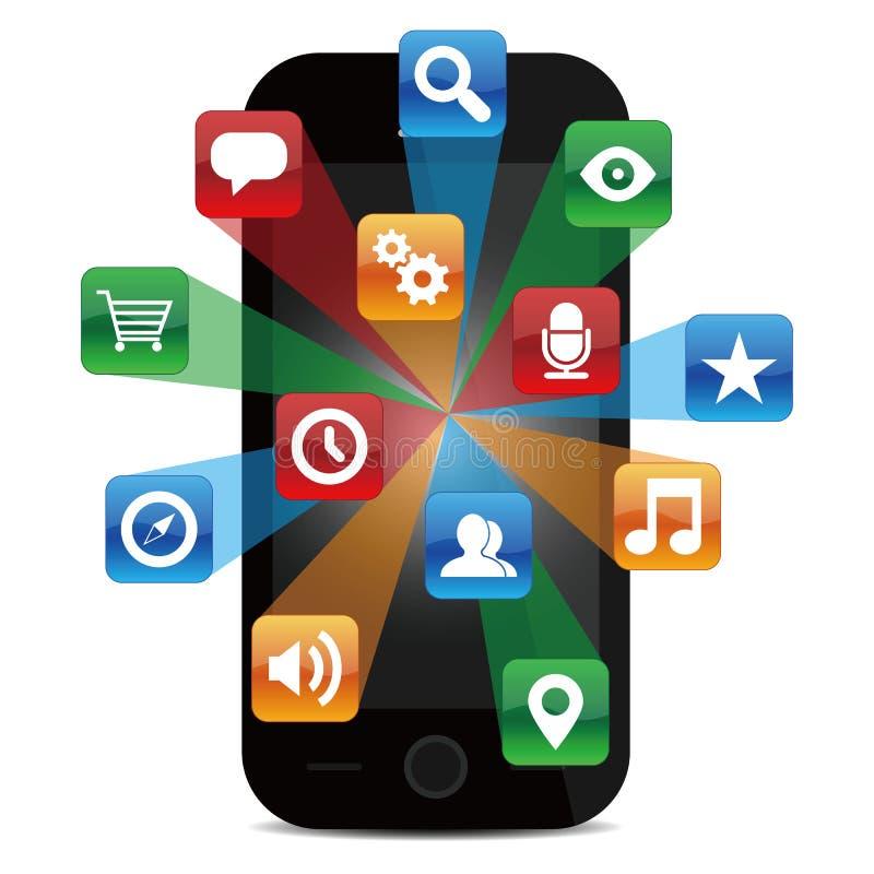 Smartphone med applikationsymboler stock illustrationer