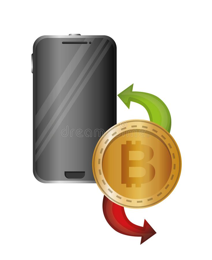 Smartphone med bitcoin och pilar vektor illustrationer