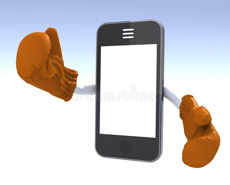 Smartphone med boxninghandskar royaltyfri illustrationer