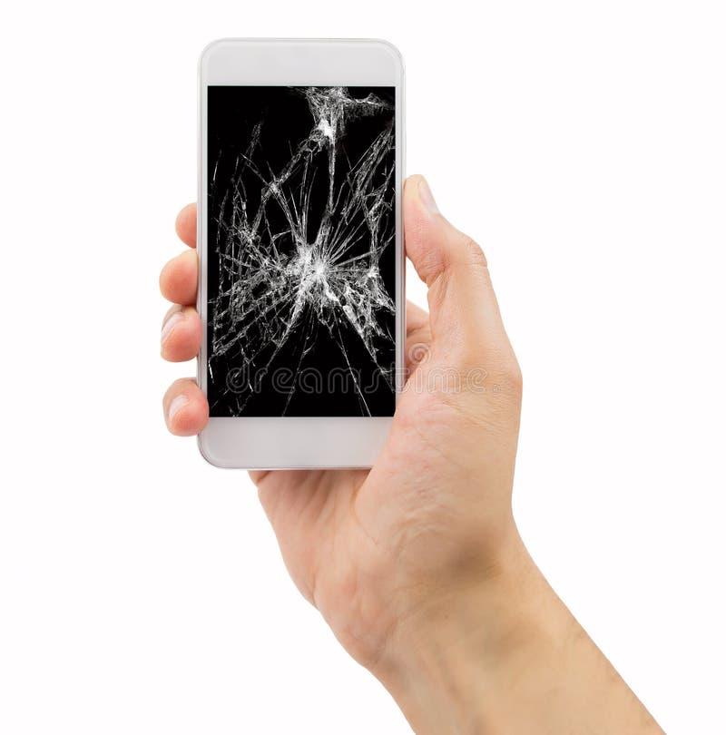 Smartphone med den brutna skärmen royaltyfri fotografi