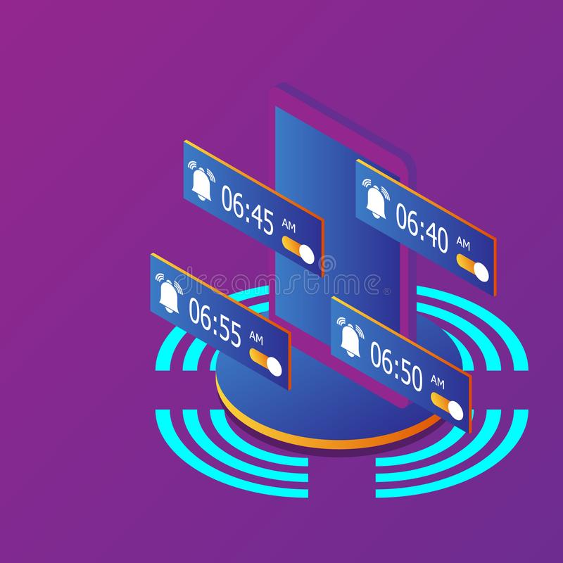 Smartphone med den isometriska ringklockaringningvektorn vektor illustrationer