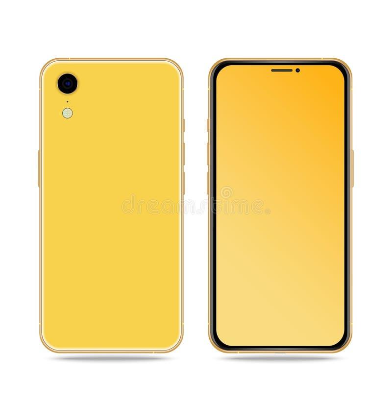 Smartphone med den kulöra skärmen tillbaka och den främre sidan på vit bakgrund royaltyfri illustrationer
