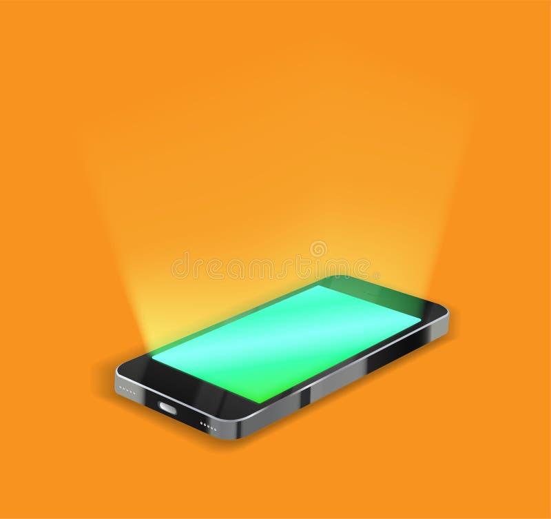 Smartphone med den ljusa skärmen på orange bakgrund royaltyfri illustrationer