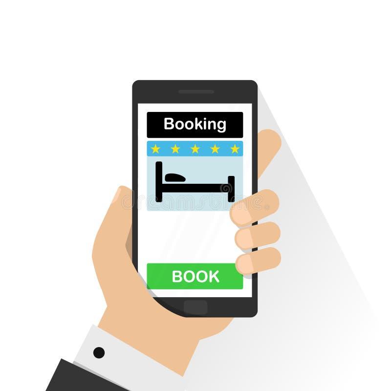 Smartphone med den rörande bokknappen för hand på skärmen Online-bokningdesignbegrepp för mobiltelefon: hotell flyg, bil royaltyfri illustrationer