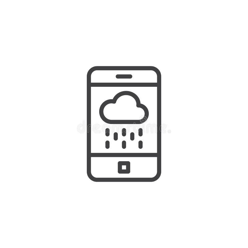 Smartphone med den regniga molnöversiktssymbolen royaltyfri illustrationer