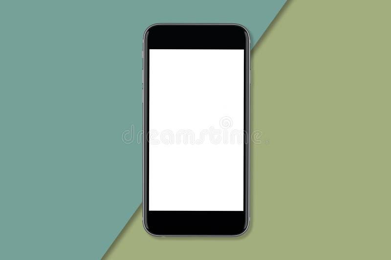Smartphone med den tomma skärmen till annonsdesignen royaltyfri bild