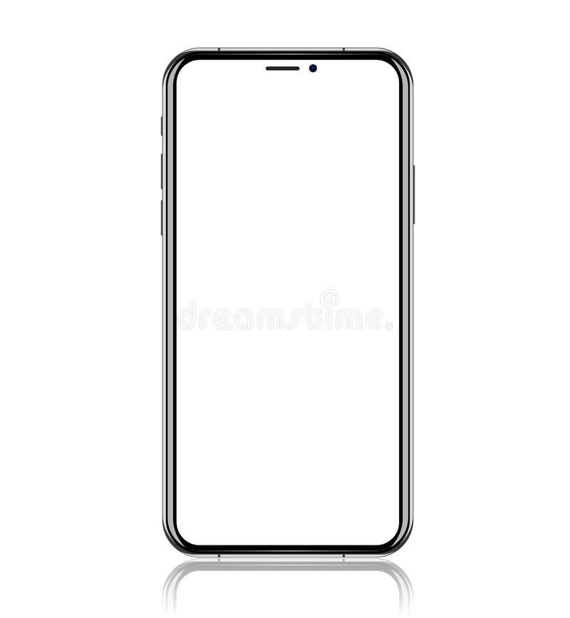Smartphone med den tomma vita skärmen Realistisk vektorillustration stock illustrationer