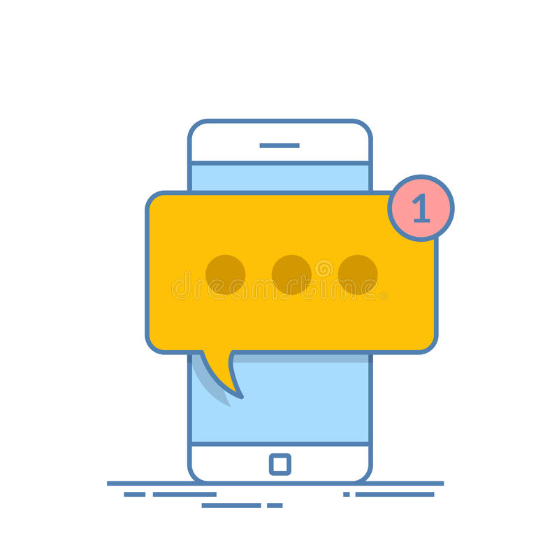 Smartphone med det nya meddelandet på skärmen Pratstund sms, kvittrar, ögonblicklig messaging, mobila budbärarebegrepp för webbpl stock illustrationer