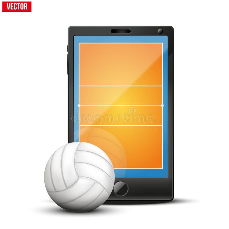 Smartphone med det volleybollbollen och fältet på stock illustrationer