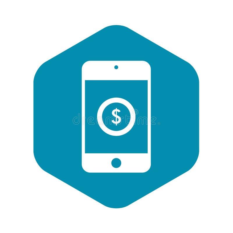 Smartphone med dollartecknet på skärmsymbol royaltyfri illustrationer