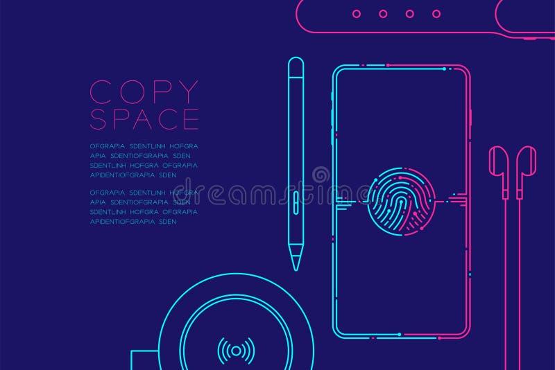Smartphone med elektroniska apparater rusar linje-, grejbegreppsdesign, redigerbara den blåa slaglängdillustrationen och rosa som stock illustrationer