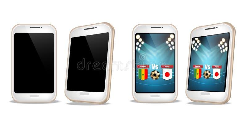 Smartphone med fotbollställningen på den realistiska skärmvektorn Sportar som slå vad online-rengöringsdukbanermallar royaltyfri illustrationer