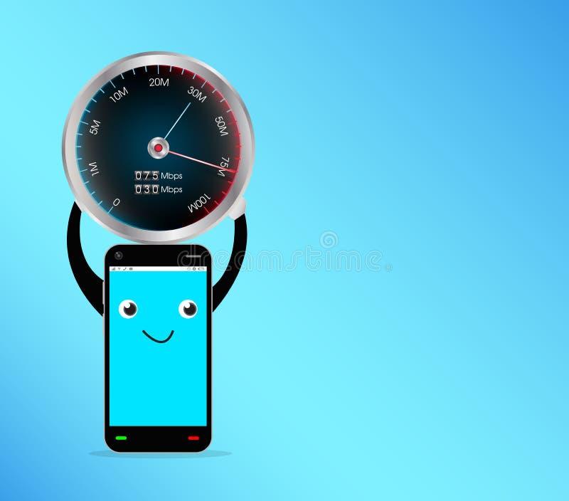 Smartphone med hastighetsprovmetern royaltyfri illustrationer