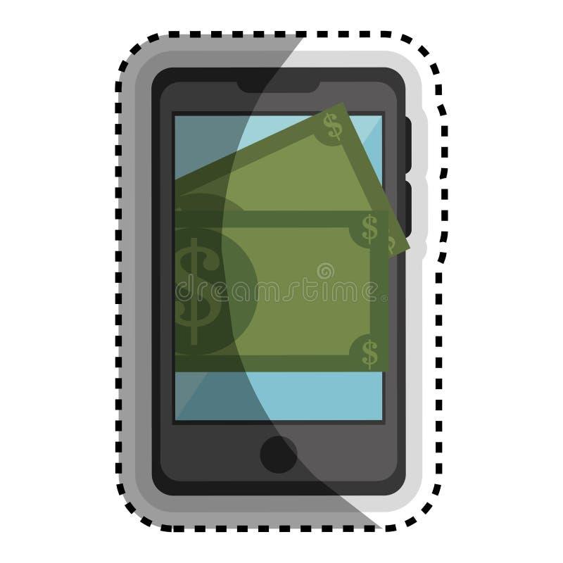 Smartphone med isolerade symbolen för pengar den apparat royaltyfri illustrationer