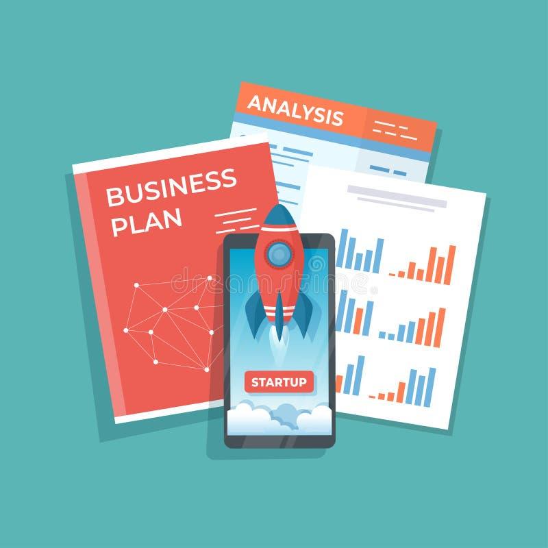 Smartphone med lanseringsraketstart från skärmen Affärsanalys och planeraidén av det lyckade projektet startar upp, strateg stock illustrationer