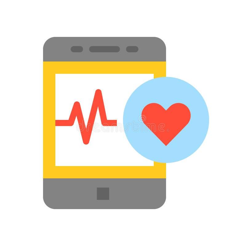 Smartphone med livsviktigt tecken kontrollerar funktion, läkarundersökning och sjukhuset royaltyfri illustrationer