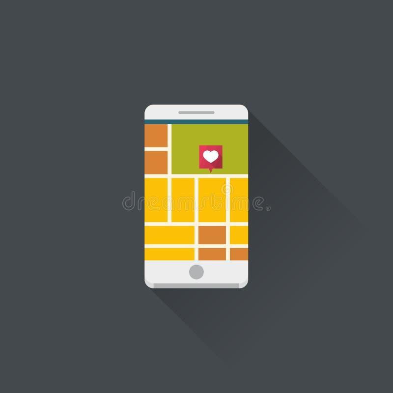 Smartphone med mobil navigering app vektor illustrationer