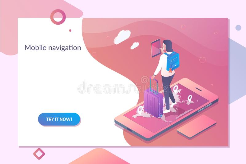 Smartphone med mobil navigering app på skärmen Online-navigeringmall i isometrisk vektorillustration royaltyfri illustrationer