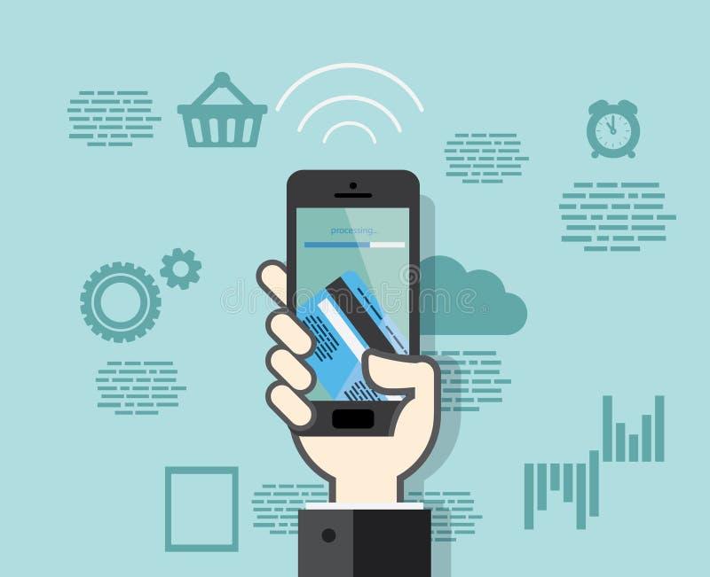 Smartphone med mobila betalningar från kreditkort vektor illustrationer