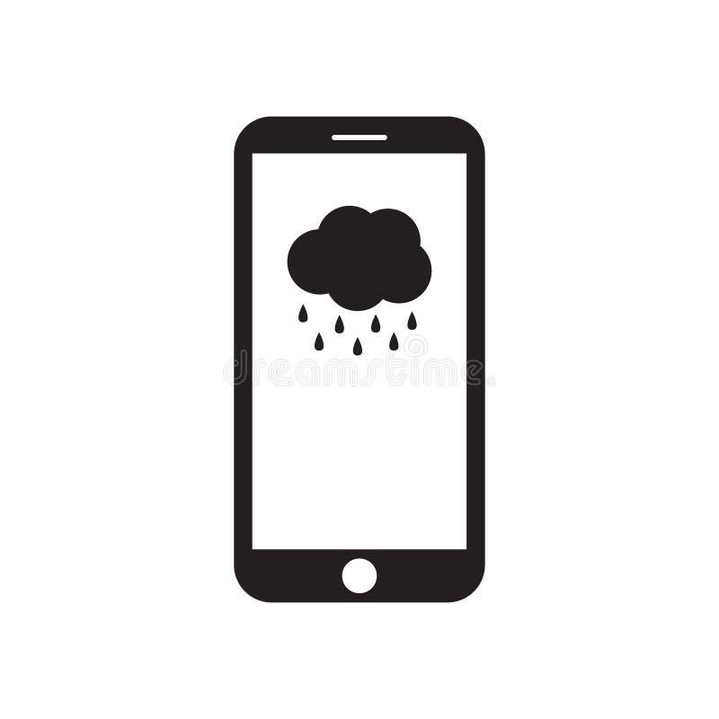 Smartphone med molnet och regn på skärmen royaltyfri illustrationer