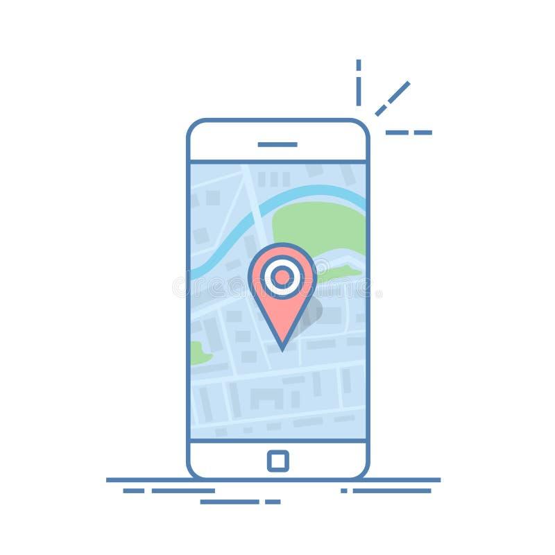 Smartphone med navigering app och det röda stiftet Den abstrakta generiska stadsöversikten med vägar, parkerar, byggnader, floden royaltyfri illustrationer