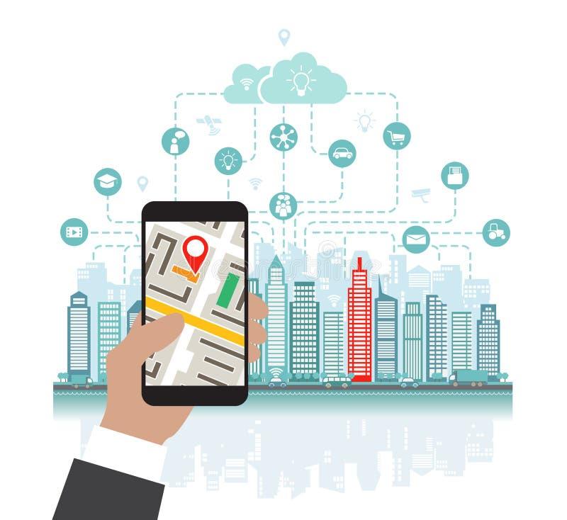 Smartphone med navigering i handen, läge i staden som söker genom att använda geolocation vektor illustrationer