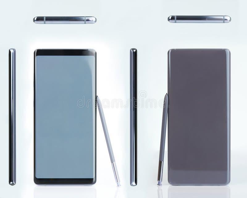 Smartphone med pennan royaltyfria bilder