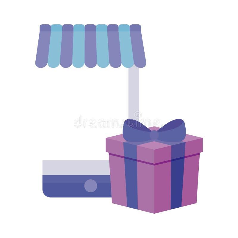 Smartphone med slags solskydd- och gåvaasken stock illustrationer