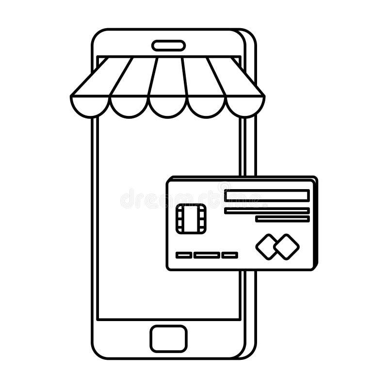 Smartphone med slags solskydd och kreditkorten royaltyfri illustrationer