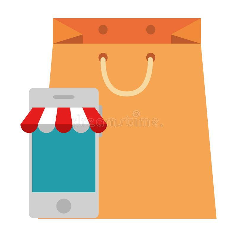 Smartphone med slags solskydd och shoppingpåsen vektor illustrationer