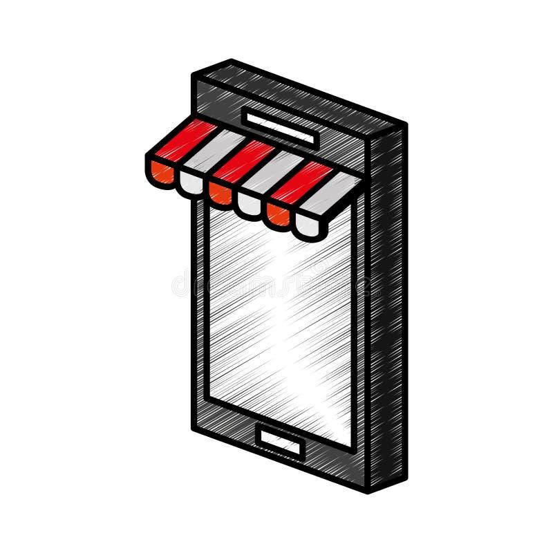 Smartphone med slags solskyddsymbolen stock illustrationer