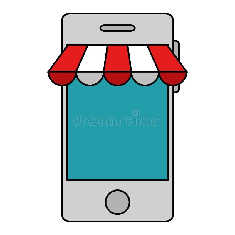 Smartphone med slags solskyddsymbolen royaltyfri illustrationer