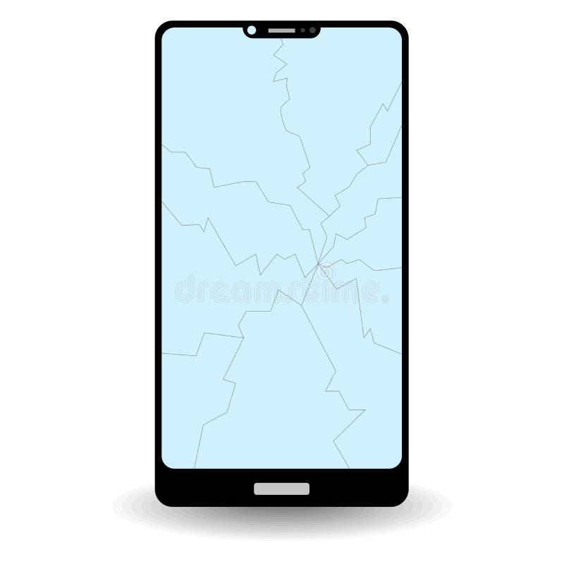 Smartphone med sprucken skärm som isoleras på vit bakgrund vektor illustrationer