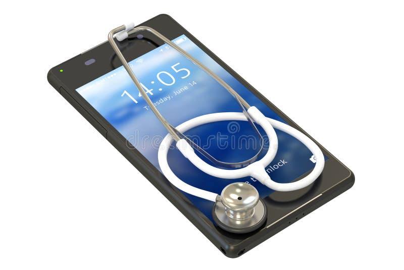 Smartphone med stetoskopet vektor illustrationer