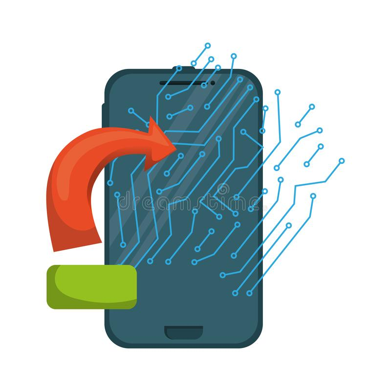 Smartphone med strömkretsen och pilen royaltyfri illustrationer